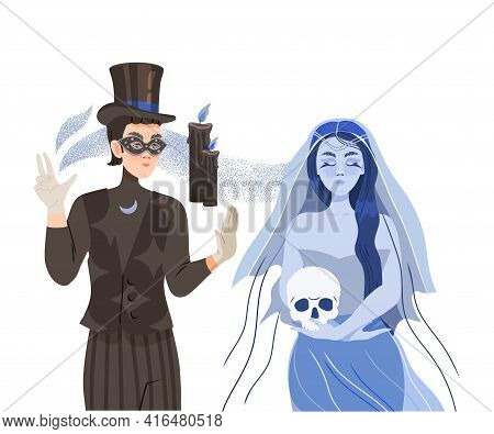 Man Psychic And Stage Magician Performing Trick And Occult Ritual Summoning Spirit Vector Illustrati