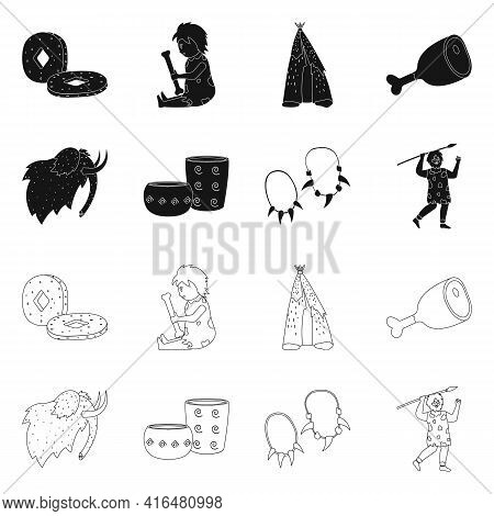 Vector Design Of Evolution And Neolithic Sign. Collection Of Evolution And Primeval Stock Symbol For
