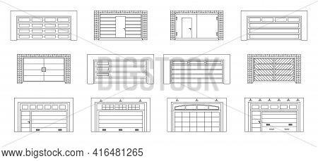 Garage Door Vector Outline Set Icon.vector Illustration Roller Gate On White Background . Isolated O