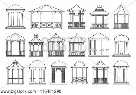 Gazebo Of Pergola Vector Outline Set Icon. Isolated Outline Set Icon Garden Bower.vector Illustratio