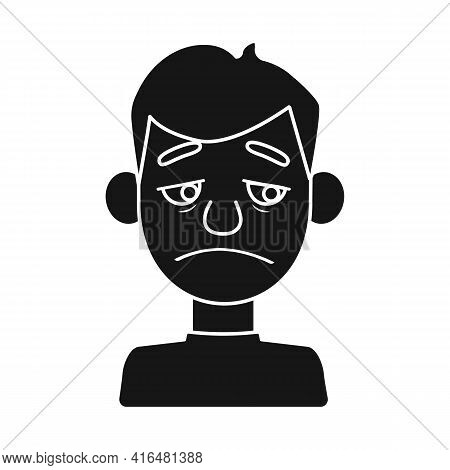 Vector Design Of Guy And Sad Logo. Set Of Guy And Person Stock Vector Illustration.