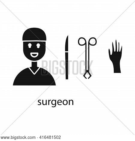 Vector Illustration Of Surgeon And Emergency Sign. Collection Of Surgeon And Operation Stock Vector