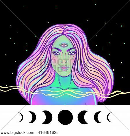 Portrait Of Mystic Girl With Three Eyes. Vector Illustration Of A Witch Mutant.