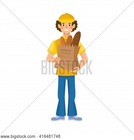 Isolated Object Of Baker And Man Icon. Collection Of Baker And Packaging Stock Vector Illustration.