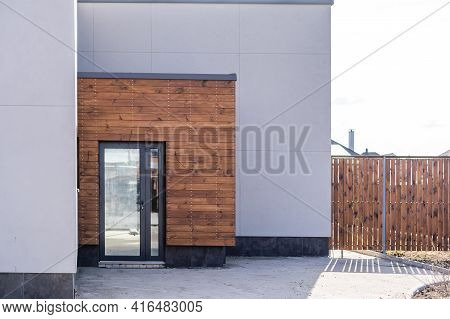 Front Door Of Newly Built House Closeup