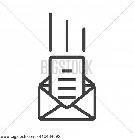 Icon Of An Incoming Document By Mail. An Image Of An Incoming Document In An Envelope. Simple Linear