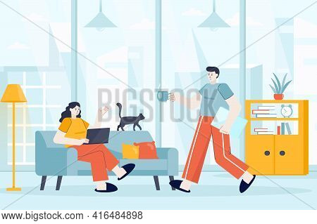 Freelance Working Concept In Flat Design. Freelancers Work In Home Office Scene. Couple Works Remote