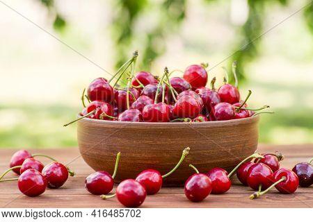 Ripe Juicy Berries Cherries In A Bowl. Freshly Picked Ripe Cherries In A Bowl