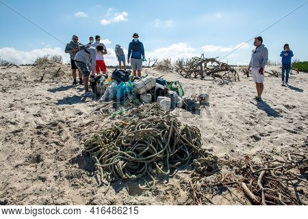 Volunteer Group Keeping Plastic Waste Out From Furadouro Beach In Ovar, Portugal