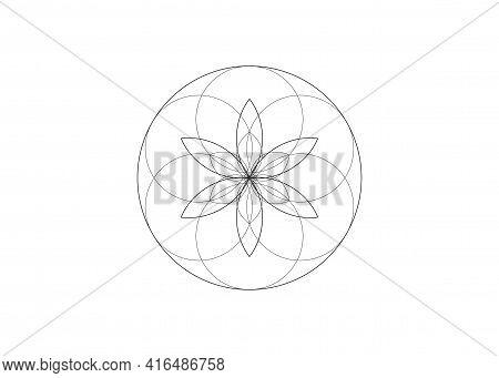 Flower Of Life Symbol Sacred Geometry. Logo Icon Round Line Art  Geometric Mystic Mandala Of Alchemy