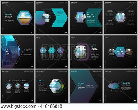 Minimal Brochure Templates With Colorful Hexagonal Design Background, Hexagon Style Pattern. Covers