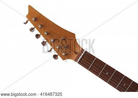 Electric guitar, closeup view on head