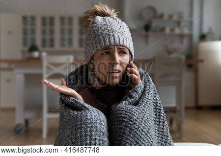 Young Woman Tenant Call Apartment Management Company Complain On Cold