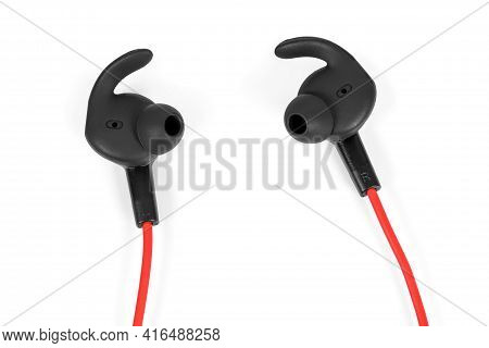 Closeup Of Modern Earphones Isolated On White Background With Clipping Path