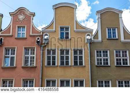 Colorful Facades Of Historic Tenement Houses In Old Town In Gdansk