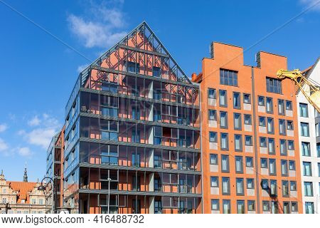 Gdansk, Poland - Sept 6, 2020: Modern Architecture Of The Granaries Island In Old Town Of Gdansk. Po