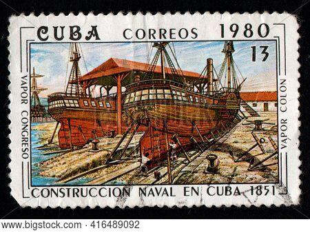 Poland - Circa 1980: Polish Postage Stamp Dedicated Towarships. Old Sea Vessel. Polish Post Stamp. V