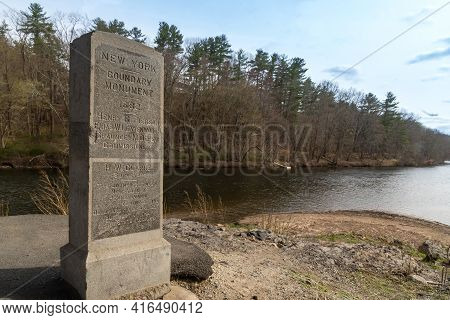 Port Jervis, Ny - Usa - April 10,2021: View Of Witness Monument Or The Western State Line Monument,
