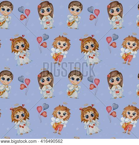 Kids Collection Of Seamless Patterns. Cute Children Angels - Girls And Boys With Wings, A Halo And H