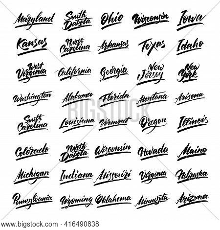 Set Of Lettering Names Of The States Of America. Handwritten English Font. Vector Illustration.