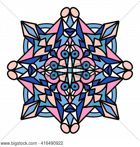 Relax Mandala Icon. Hand Drawn And Outline Illustration Of Relax Mandala Vector Icon For Web Design