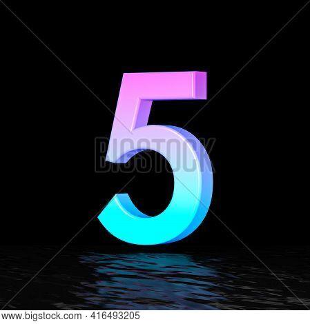 Cyan Magenta Font Number 5 Five 3d Render Illustration Isolated On Black Background