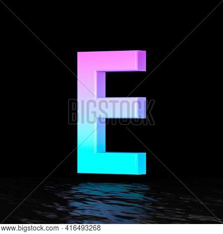 Cyan Magenta Font Letter E 3d Render Illustration Isolated On Black Background