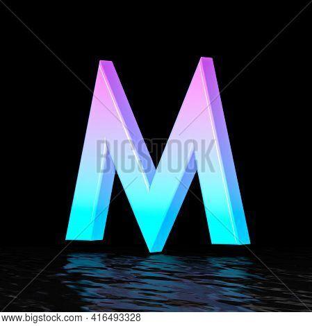 Cyan Magenta Font Letter M 3d Render Illustration Isolated On Black Background