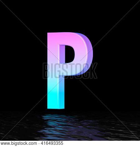 Cyan Magenta Font Letter P 3d Render Illustration Isolated On Black Background