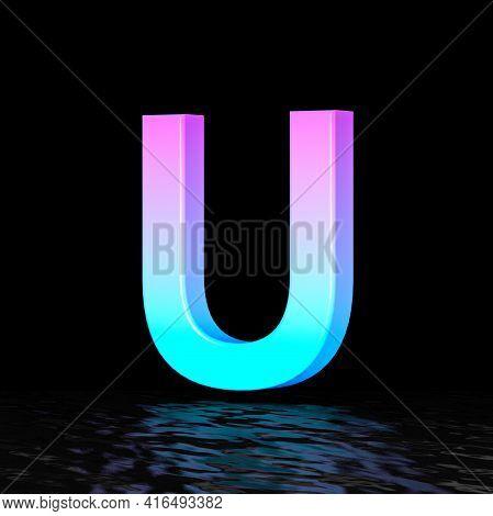 Cyan Magenta Font Letter U 3d Render Illustration Isolated On Black Background