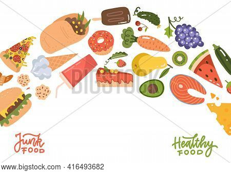 Healthy And Unhealthy Lifestyle Concept. Flow Of Changing Icons Of Healthy Foods And Unhealthy Foods