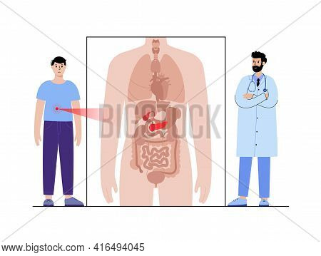 Diabetes, Pain, Inflammation In Pancreas. Appointment With Doctor. Pancreatic Cancer Concept. Digest