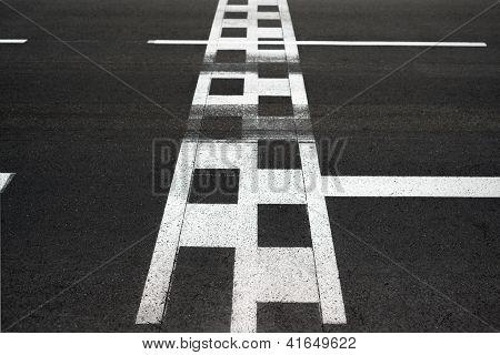 Start und Ziellinie Rennen asphalt Monaco grand Prix Kurs