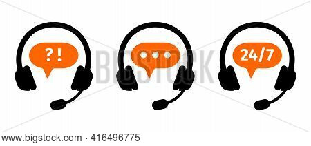 Hotline Call Center Icons Set. Customers Support Online Service Symbols Isolated On White Background