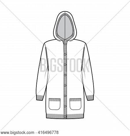 Dress Hooded Cardigan Dress Sweater Technical Fashion Illustration With Rib Henley Neck, Relax Fit,