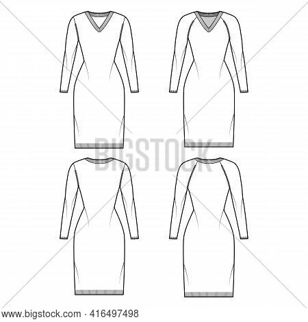 Set Of V-neck Dress Sweaters Technical Fashion Illustration With Long Raglan Sleeves, Slim Fit, Knee