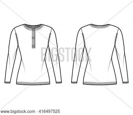 Sweater Henley Neck Technical Fashion Illustration With Long Sleeves, Slim Fit, Hip Length, Rib Knit