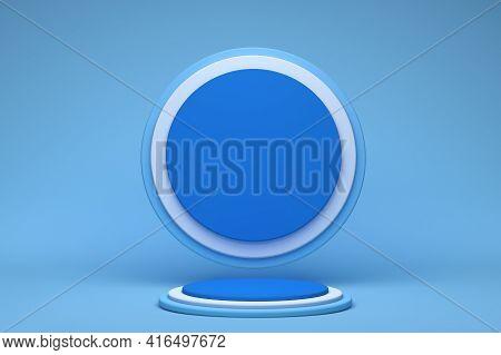 Podium Display In Abstract Blue Composition, 3d Render, 3d Illustration, Background Mockup 3d Blue W