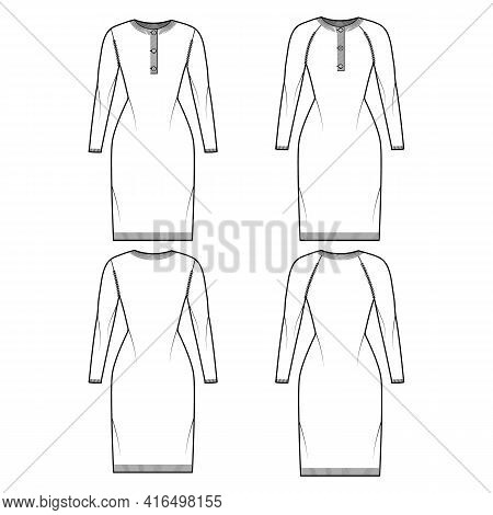 Set Of Polo Dress Sweaters Technical Fashion Illustration With Rib Henley Neck, Classic Collar, Long