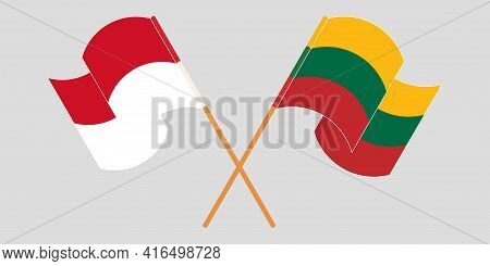 Crossed And Waving Flags Of Indonesia And Lithuania
