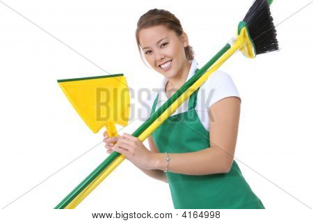 Cute Maid With Broom And Cleaning Supplies