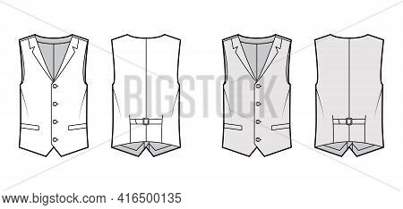 Lapelled Vest Waistcoat Technical Fashion Illustration With Sleeveless, Notched Shawl Collar, Button