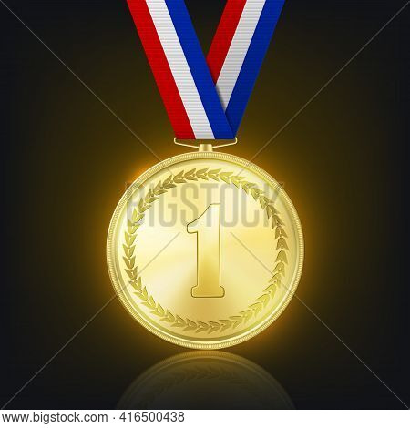 Vector 3d Realistic Shiny Golden Win Medal With Striped Ribbon On Dark Background With Reflection. V