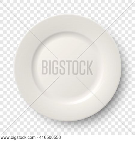 Vector 3d Realistic Ceramic, Porcelain Empty Dish White Plate Icon Closeup Isolated On Transparent B