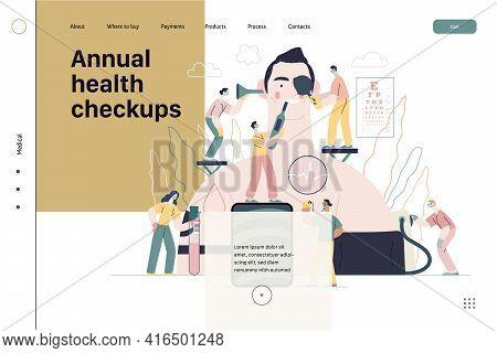 Annual Health Checkups - Medical Insurance Illustration. Modern Flat Vector