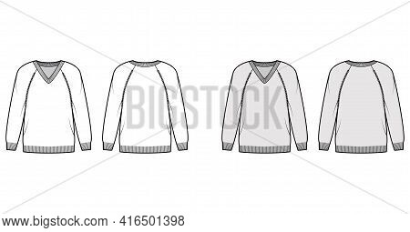 V-neck Sweater Technical Fashion Illustration With Long Raglan Sleeves, Oversized, Hip Length, Knit