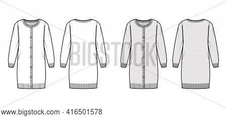 Round Neck Dress Cardigan Sweater Technical Fashion Illustration With Oversized Body, Knee Length, K