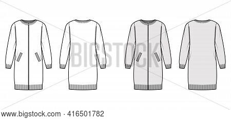Zip-up Dress Cardigan Sweater Technical Fashion Illustration With Rib Crew Neck, Long Sleeves, Overs
