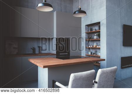 Modern Kitchen Interior Design With Furniture And Table.