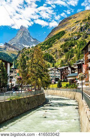 The Matterhorn And The Gornera River At Zermatt In Switzerland